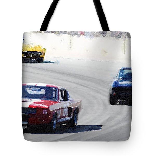 Mustang And Corvette Racing Watercolor Tote Bag
