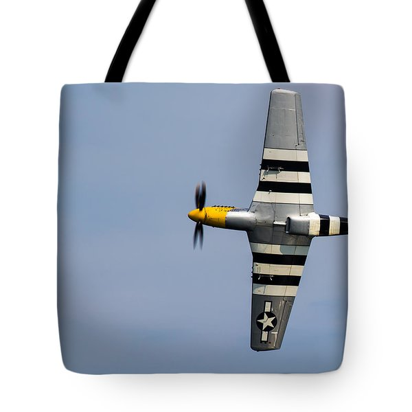 Tote Bag featuring the photograph Mustang Flyby D-day by Scott Lyons