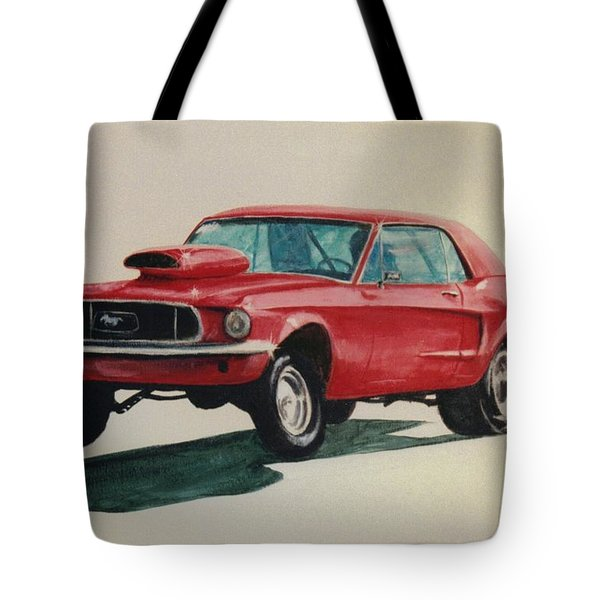Tote Bag featuring the painting Mustang Launch by Stacy C Bottoms