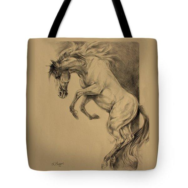 Mustang Rearing Tote Bag by Derrick Higgins