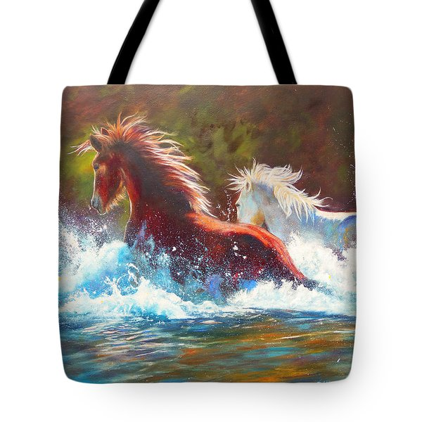 Tote Bag featuring the painting Mustang Splash by Karen Kennedy Chatham
