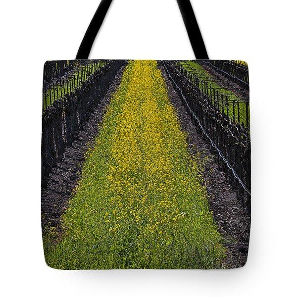 Mustard Grass In Vineyards Tote Bag