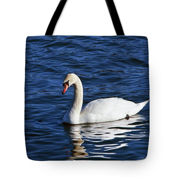 Mute Swan Cygnus Olor Swimming Tote Bag