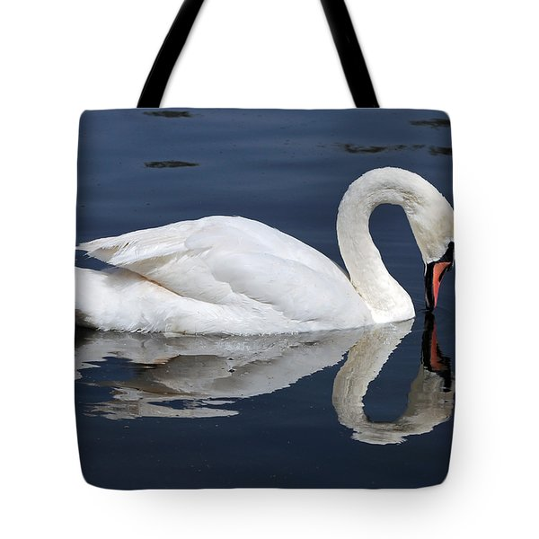 Tote Bag featuring the photograph Mute Swan Kissing Its Reflection by Susan Wiedmann