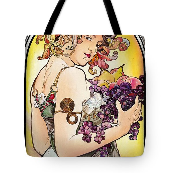 My Acrylic Painting As An Interpretation Of The Famous Artwork By Alphonse Mucha - Fruit Tote Bag
