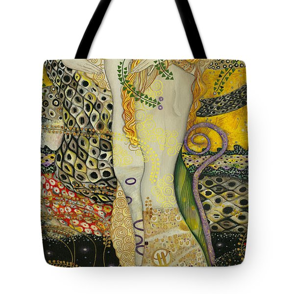 My Acrylic Painting As An Interpretation Of The Famous Artwork Of Gustav Klimt - Water Serpents I Tote Bag by Elena Yakubovich