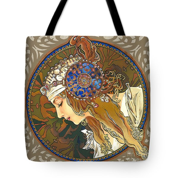 My Acrylic Painting As Interpretation Of Alphonse Mucha- Byzantine Head. The Blonde. Diagonal Frame. Tote Bag by Elena Yakubovich