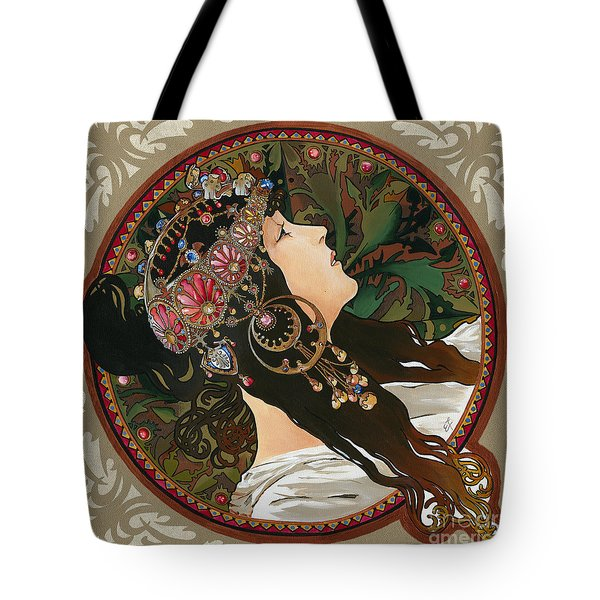 My Acrylic Painting As Interpretation Of Alphonse Mucha - Byzantine Head The Brunette Diagonal Frame Tote Bag