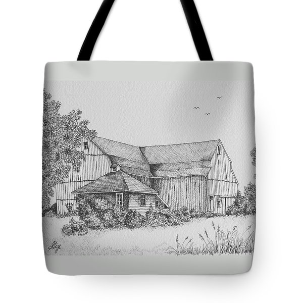 Tote Bag featuring the drawing My Barn by Gigi Dequanne