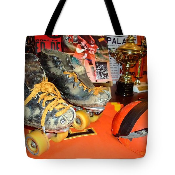 Tote Bag featuring the photograph My Battle Scarred Roller Derby Skates And Helmet   by Jim Fitzpatrick