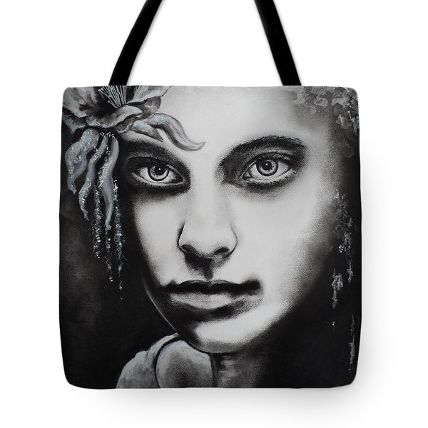 Tote Bag featuring the drawing My Beautiful Belladonna by Carla Carson