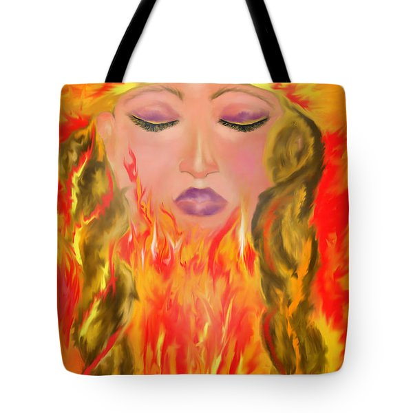 Tote Bag featuring the painting My Burning Within by Lori  Lovetere