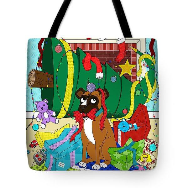 My Dog Ate Christmas Tote Bag by Shawna Rowe