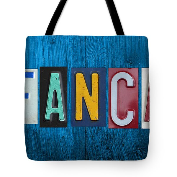 My Fancave License Plate Letter Vintage Phrase Artwork On Blue Wood Tote Bag by Design Turnpike