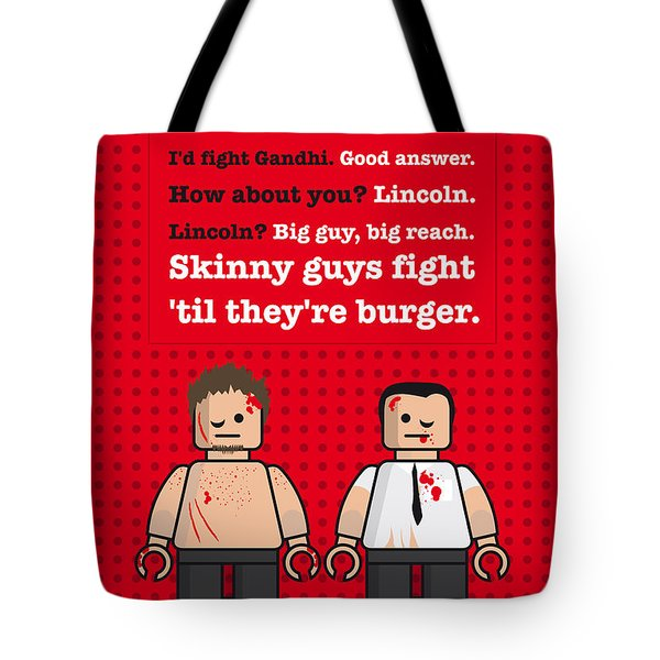 My Fight Club Lego Dialogue Poster Tote Bag by Chungkong Art
