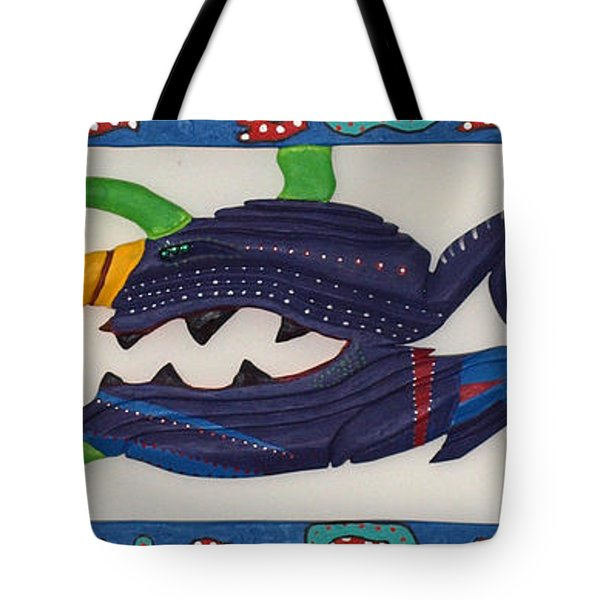 Tote Bag featuring the sculpture My First Fish Dinner by Robert Margetts