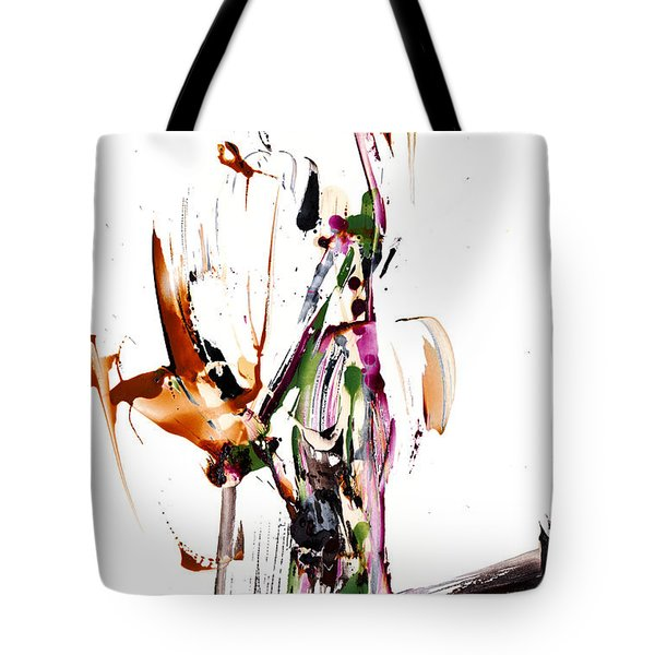 Tote Bag featuring the painting My Form Of Jazz Series - 10187.110709 by Kris Haas