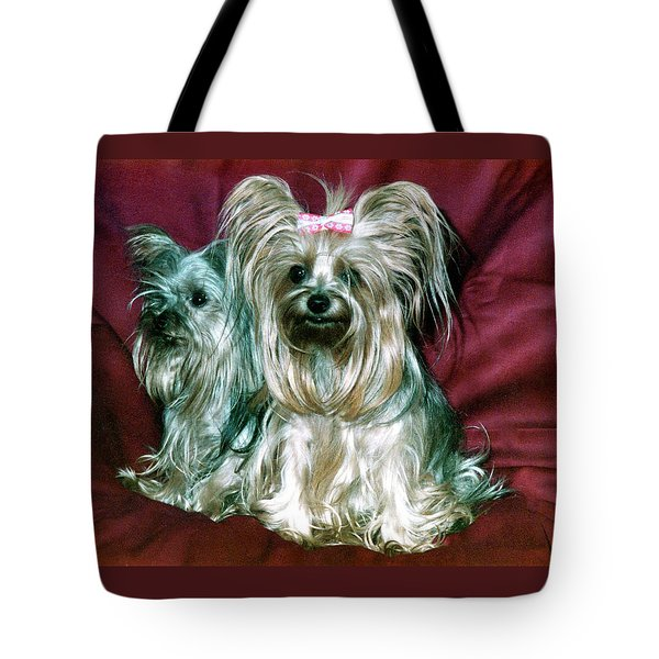 Tote Bag featuring the photograph My Friends Yorkies by Phyllis Kaltenbach
