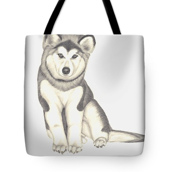 Tote Bag featuring the drawing My Husky Puppy-misty by Patricia Hiltz