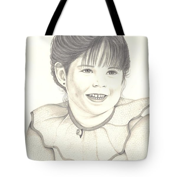 Tote Bag featuring the drawing My Little Girl by Patricia Hiltz