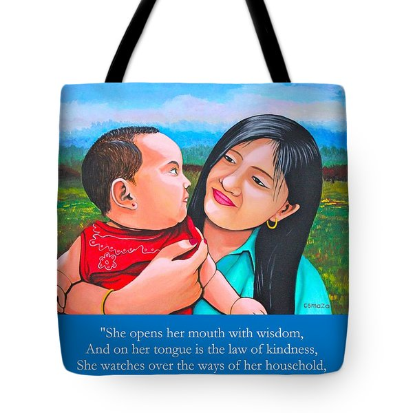 Tote Bag featuring the mixed media My Mom by Cyril Maza