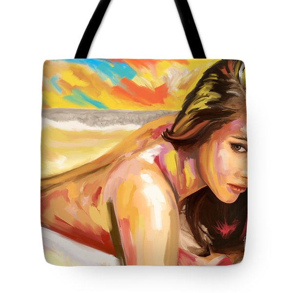 Woman Study Big Brush Tote Bag