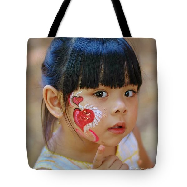 My Painted Face Tote Bag by Kathleen Struckle