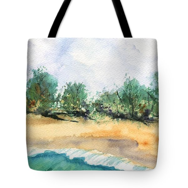 Tote Bag featuring the painting My Secret Beach by Marionette Taboniar
