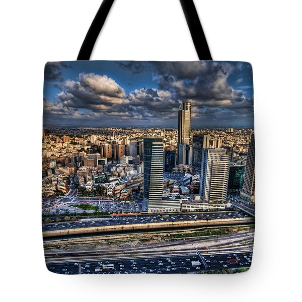 Tote Bag featuring the photograph My Sim City by Ron Shoshani