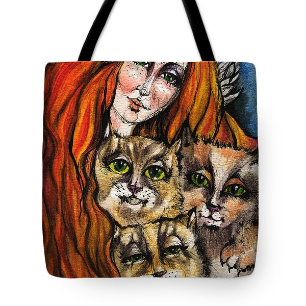 My Three Cats Tote Bag by Angel  Tarantella