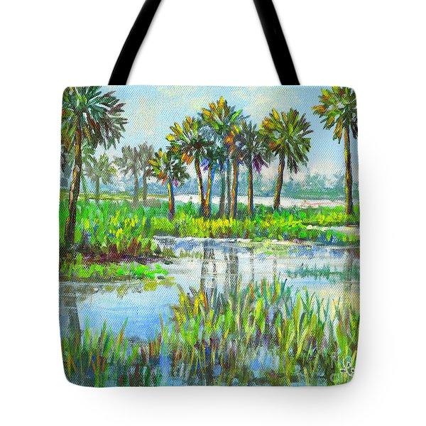 Myakka Lake With Palms Tote Bag by Lou Ann Bagnall