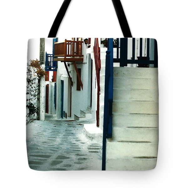 Tote Bag featuring the photograph Mykonos Charm by Jacqueline M Lewis