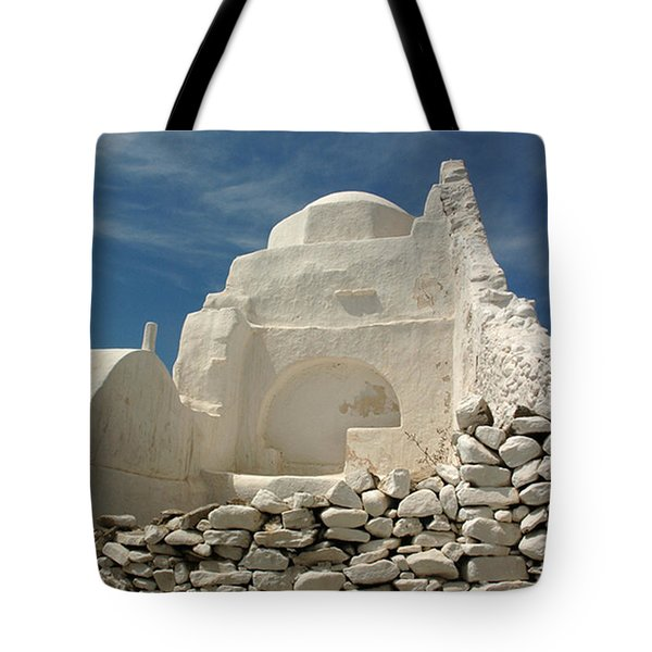 Tote Bag featuring the photograph Mykonos Church by Vivian Christopher