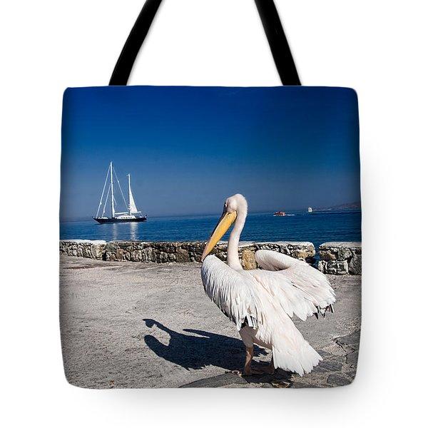 Mykonos Pelican Tote Bag