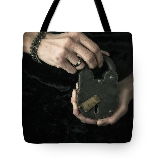 Mysterious Woman With Lock Tote Bag by Edward Fielding