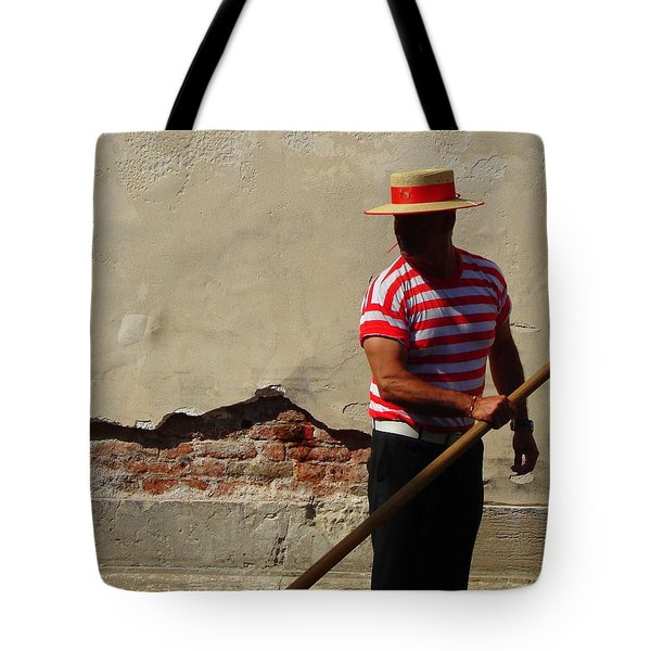 Tote Bag featuring the photograph Mystery Gondolier by Ramona Johnston