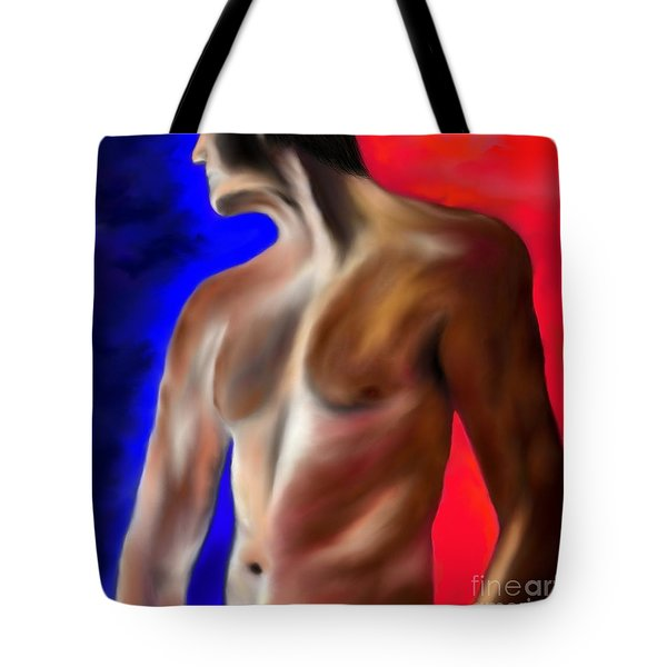 Tote Bag featuring the painting Mystery Of A Man by Lori  Lovetere