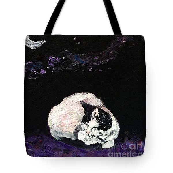 Tote Bag featuring the painting Mystic Cat Nap  by Reina Resto