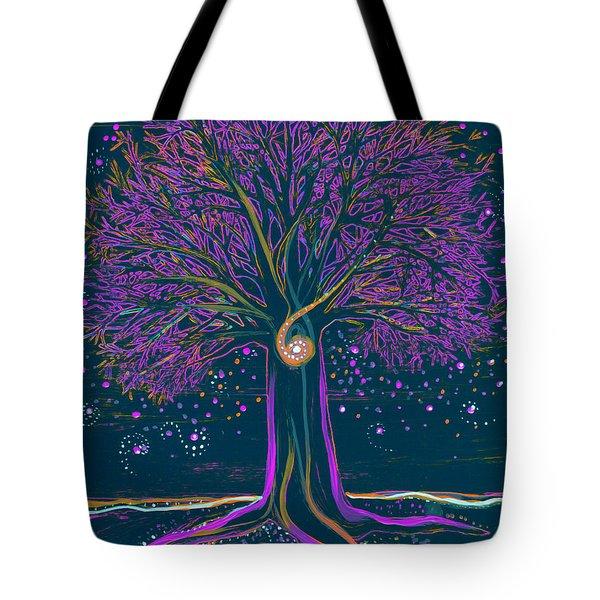 Mystic Spiral Tree 1 Purple Tote Bag