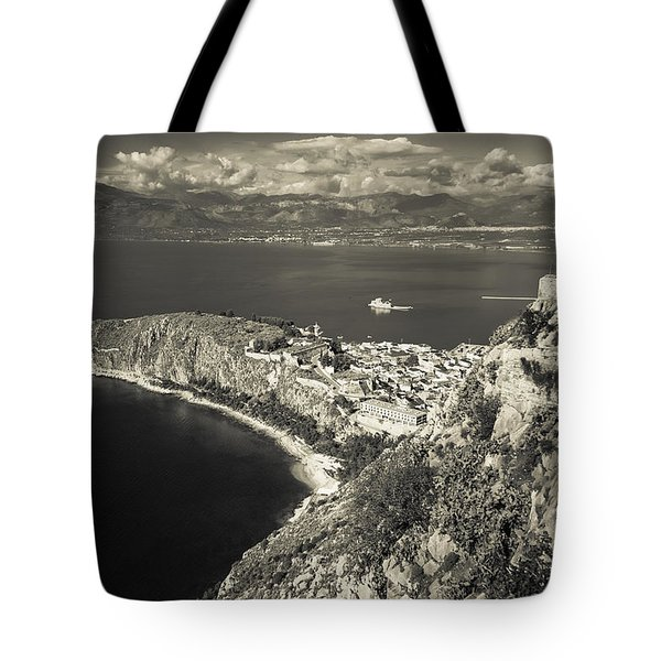 Nafplio Peninsula Sepia Tote Bag