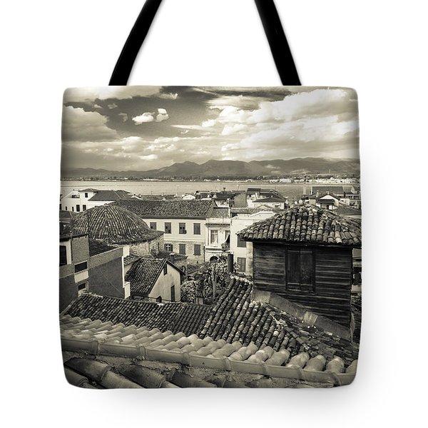 Nafplio Rooftops Sepia Tote Bag