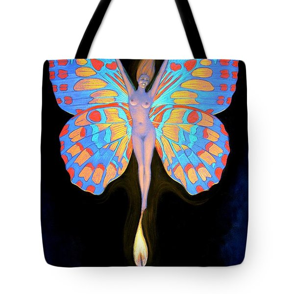 Naked Butterfly Lady Transformation Tote Bag