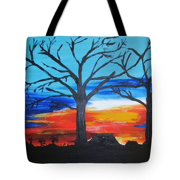 Tote Bag featuring the painting Naked Twin Sisters At Baoma Kpengeh by Mudiama Kammoh