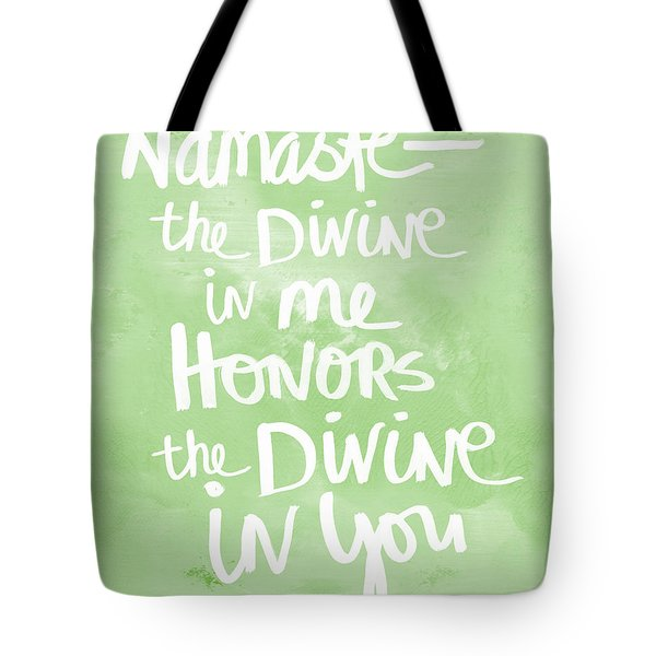 Namaste Green And White Tote Bag by Linda Woods