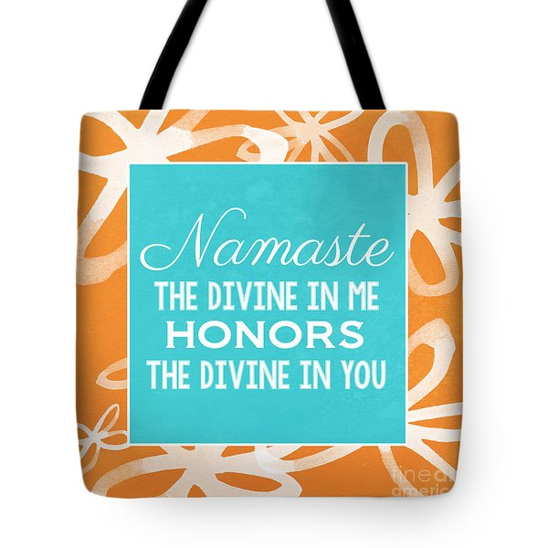 Namaste Watercolor Flowers Tote Bag
