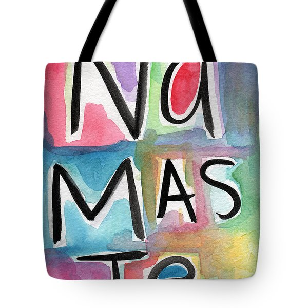 Namaste Watercolor Tote Bag by Linda Woods