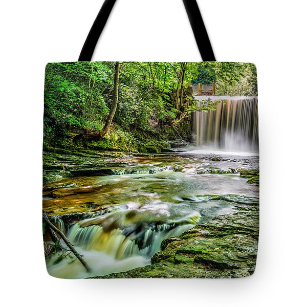 Nant Mill Waterfall Tote Bag by Adrian Evans