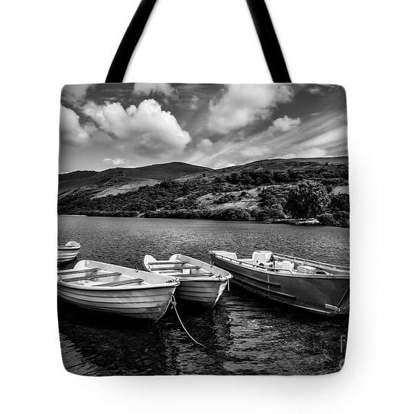 Tote Bag featuring the photograph Nantlle Uchaf Boats by Adrian Evans