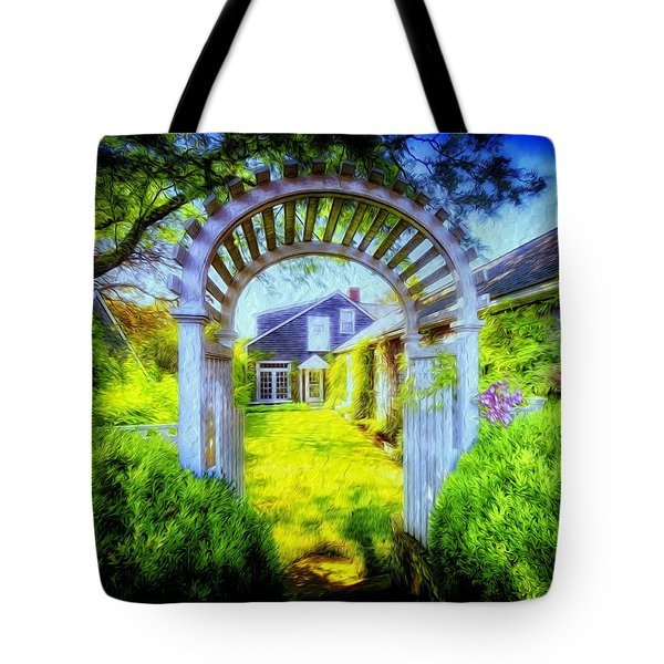 Tote Bag featuring the photograph Nantucket Gate Of Golden Splendour by Jack Torcello