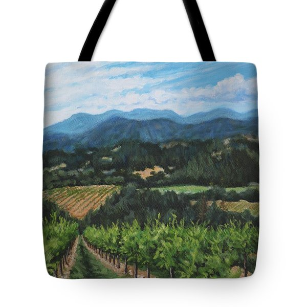 Tote Bag featuring the painting Napa Valley Vineyard by Penny Birch-Williams